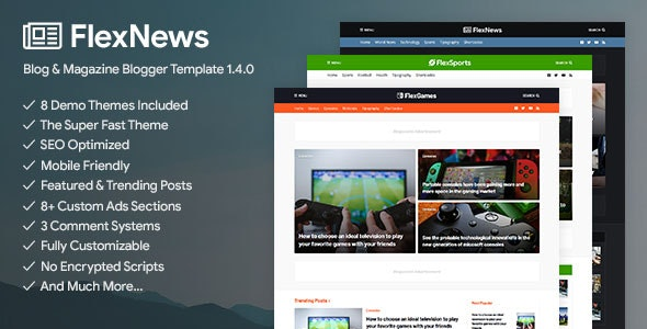 FlexNews Premium - Responsive Blog & Magazine Blogger Templates