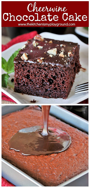 Cheerwine Chocolate Cake ~ Laced with Cheerwine in both the cake & rich chocolate icing, this is one truly tasty Southern treat! Super easy to make, too. #chocolatecake #Cheerwine #Cheerwinecake  www.thekitchenismyplayground.com