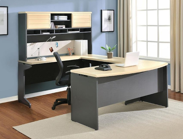 best buying office furniture in Costco u shaped design with hutch ideas