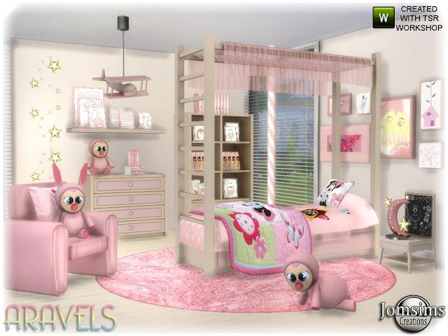 Aravels kids bedroom Aravels детская спальня для The Sims 4 кровать. структура для кровати. Возможно, The Sims Touche Litle, возможно, комод с деко. комод 2. пододеяльник. стеганая кровать. Подушка-кровать. живой стул. подушка живое кресло. конец таблицы Полка misc deco для установки перед комодом2 Автор: jomsims