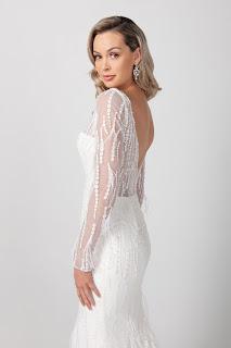 Michelle Roth Long Sleeve V-neckline Beaded feathered Bridal Dress back design