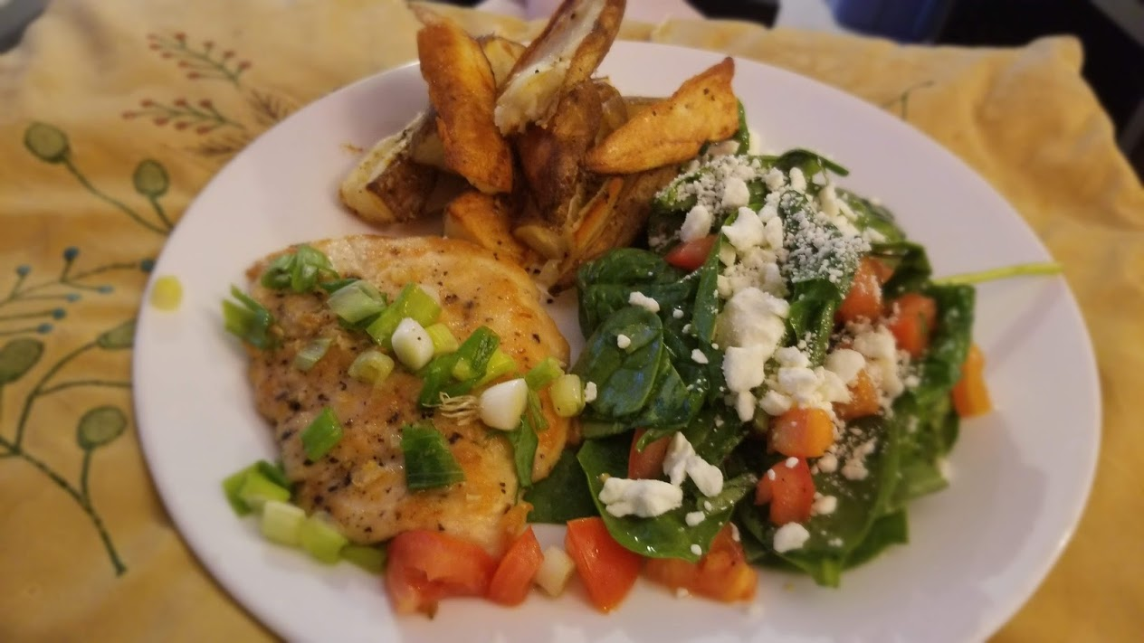 Garlic-butter chicken, salad, and fries, from Dinnerly