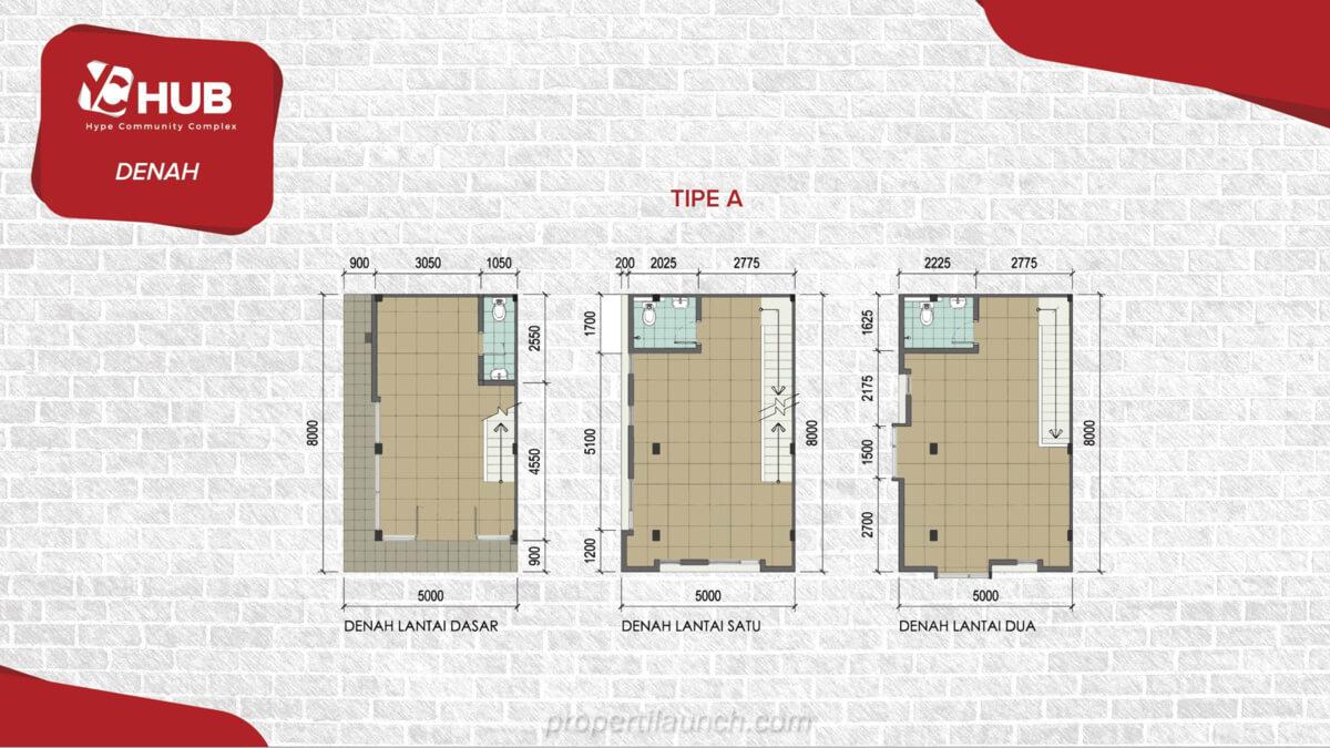 Denah Ruko YC Hub Tipe 3 Lantai