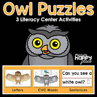 Owl Puzzles Literacy Centers