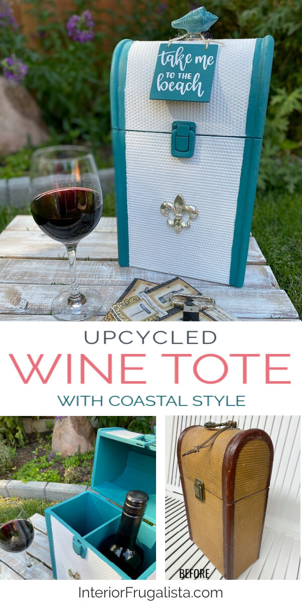 A thrift store Vintage Wood Rattan and a Metal Wine Bottle Carrier get one-of-a-kind makeovers for summer for two budget-friendly hostess gift ideas. #coastalstyle #wineholder