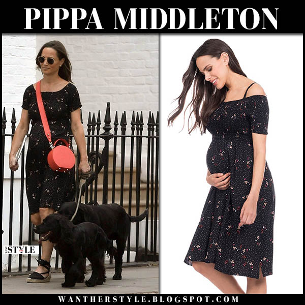 Pippa Middleton in black floral maternity dress seraphine royal family baby bump july 20
