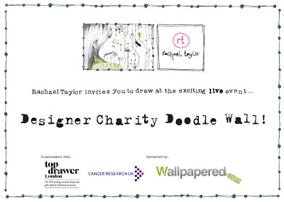 Top Drawer visit with designer Rachael Taylor & the Charity Doodle wall