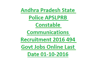 Andhra Pradesh State Police APSLPRB Constable Communications Recruitment 2016 494 Govt Jobs Online Last Date 01-10-2016