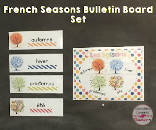 FSL Seasons and Weather French (FSL) bulletin board sets- perfect for practicing and reinforcing oral language in the upper elementary classroom