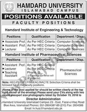 Hamdard University Career Opportunities Oct 2018