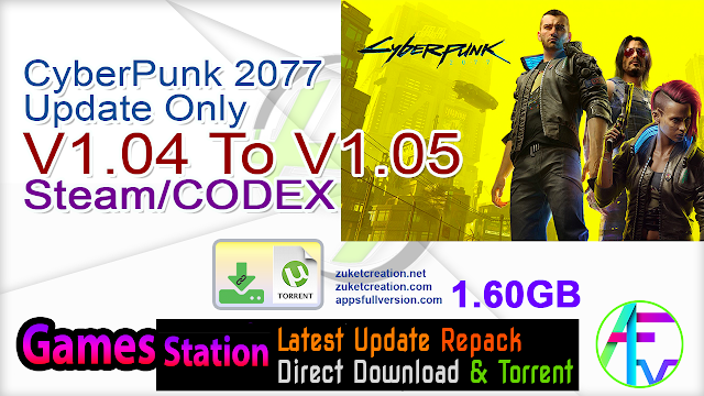 CyberPunk 2077 Update Only V1.04 To V1.05 Steam CODEX