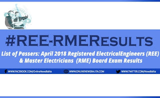 LIST OF PASSERS: April 2018 REE & RME Board Exam Results