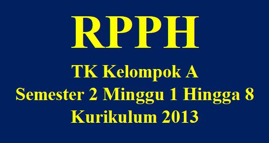 RPPH TK Kelompok A Semester 2 Minggu 1 Hingga 8