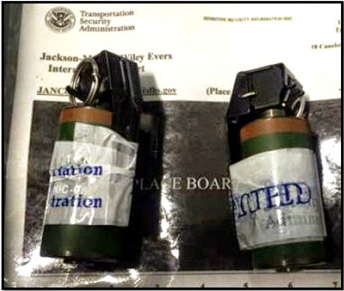 Two live Chilean military flashbang grenades were discovered in a carry-on bag at Jackson (JAN).