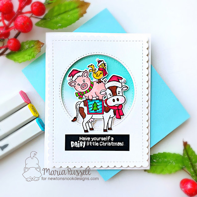 Farm Animals Christmas Card by Maria Russell | Dairy Christmas Stamp Set, Frames & Flags Die Set and Circle Frames Die Set by Newton's Nook Designs