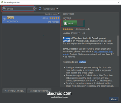 Browse Repositories exynap android studio plugin