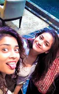 Keerthy Suresh with Cute and Lovely Smile with Shriya Saran Latest Selfies 1