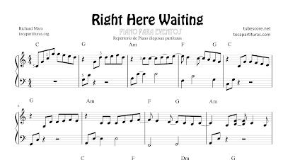 Right here waiting de Richard Marx Partitura de Piano Solo con acordes para Pianistas de Eventos