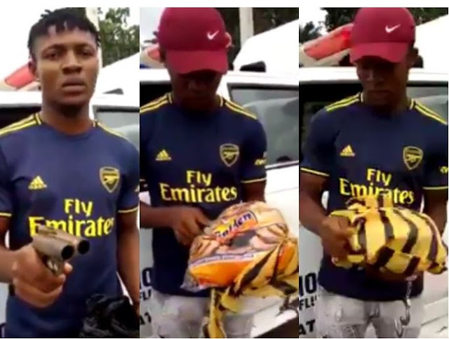 Video Of Nigerian Man Apprehended With A Gun Tucked Inside A Bread In Imo