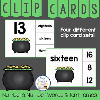 Number Clip Card Center for Numbers, Number Words & Ten Frames St. Patrick's Day Themed