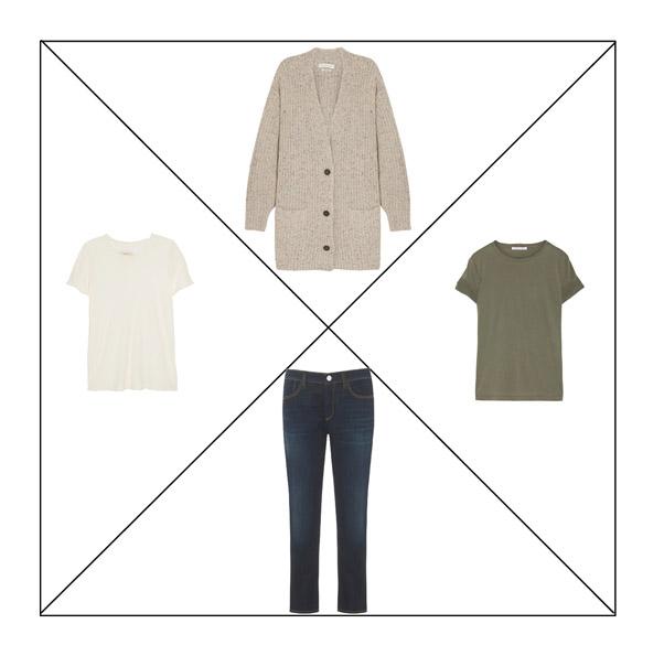 Синие джинсы, кардиган цвета camel, белая футболка, футболка цвета хаки для капсульного гардероба в повседневном стиле Casual