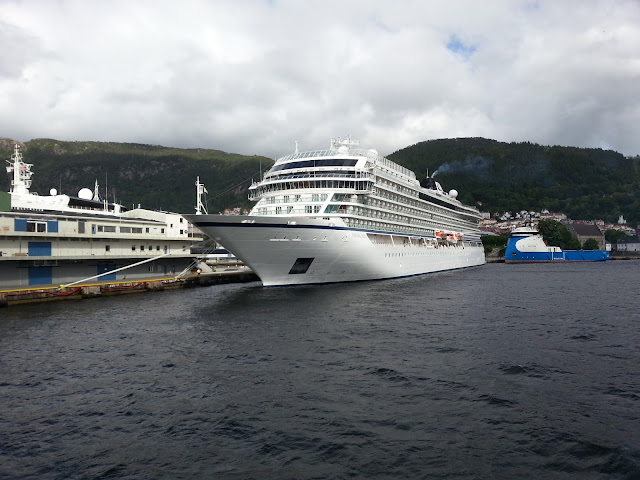 Luxury cruise ship Viking Sea in Bergen, Norway; Fjords cruise; Ships in Bergen