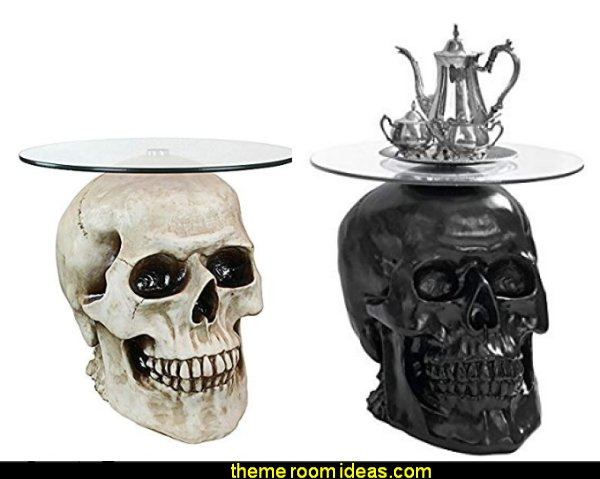 Lost Souls Gothic Skull Glass-Topped Table  Skull decor - Halloween decorations - Halloween decorating props - Halloween decor  - ghost decorations - Haunted mansion decorations - Pumpkin decorations - Skulls & Skeletons Halloween bedding - HALLOWEEN COSTUMES - zombie decor - Spider decorations
