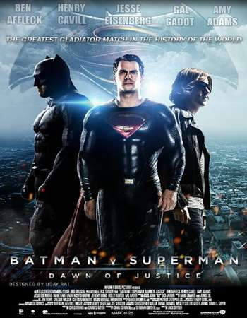 Poster Of Batman v Superman Dawn of Justice 2016 Dual Audio 180MB HDRip HEVC Mobile ESubs Free Download Watch Online Worldfree4u
