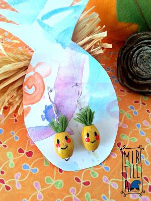 orecchini ananas perline