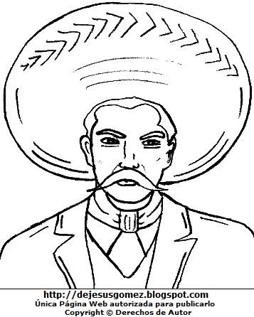 Dibujo de Emiliano Zapata con sombrero para colorear, pintar e imprimir. Dibujo de Emiliano Zapata de Jesus Gómez