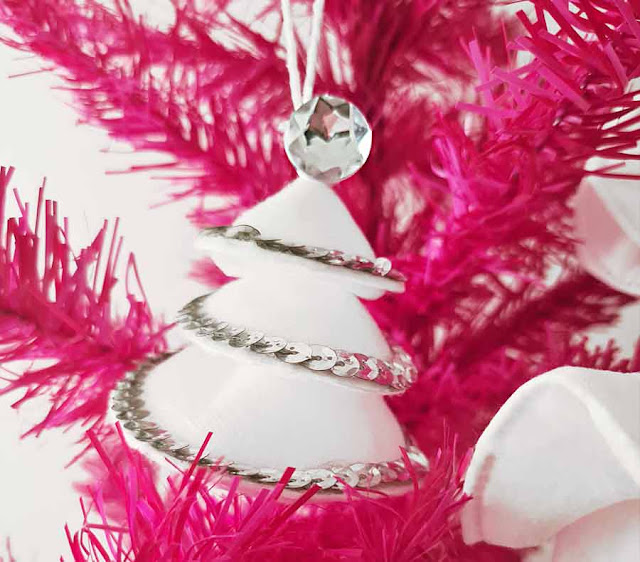 make-up pads diy 3d christmas tree decoratons