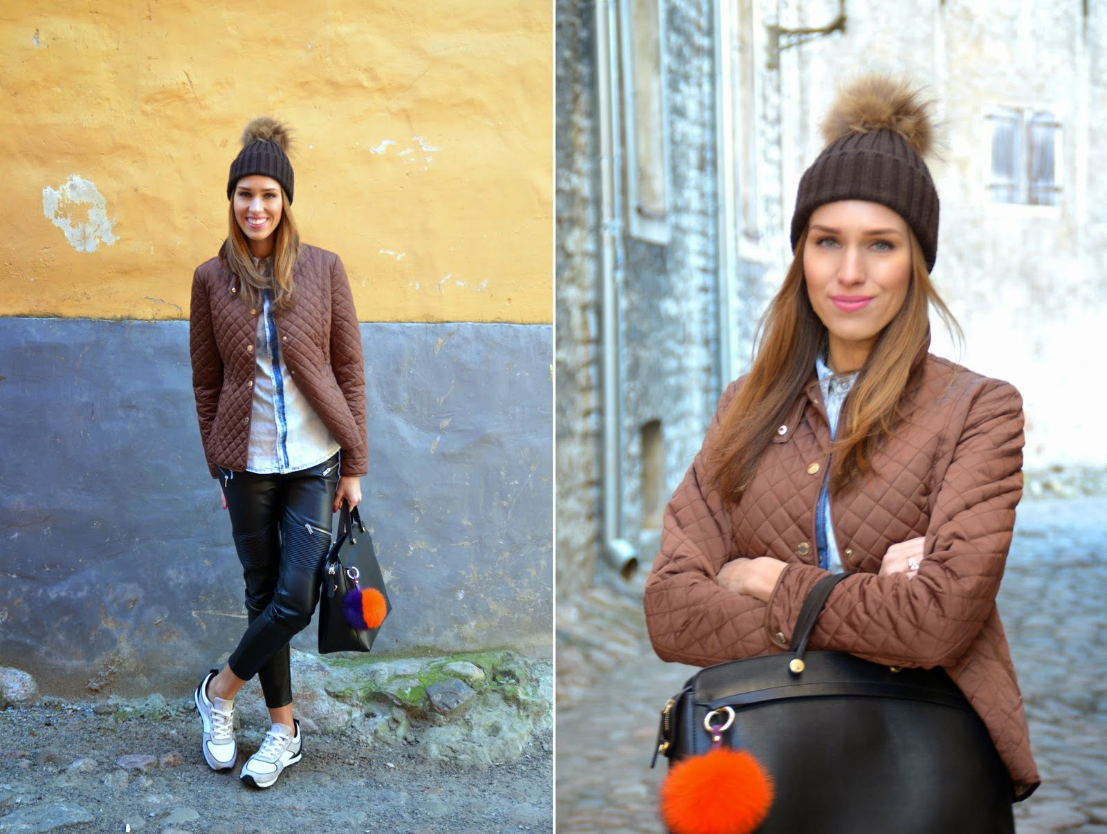 pom-pom-hat-fur-bag-charm-key-ring-leather-pants-sneakers-casual-outfit kristjaana mere