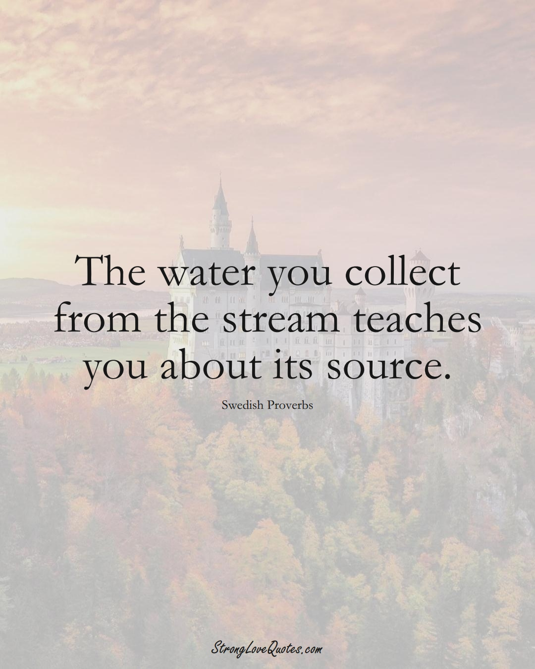The water you collect from the stream teaches you about its source. (Swedish Sayings);  #EuropeanSayings