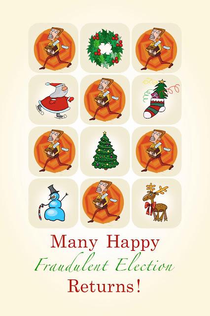 stilton's place, stilton, political, humor, conservative, cartoons, jokes, hope n' change, Christmas, Christmas card, election, Biden, fraud