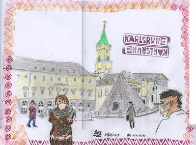 Marktplatz zuhause sketchen