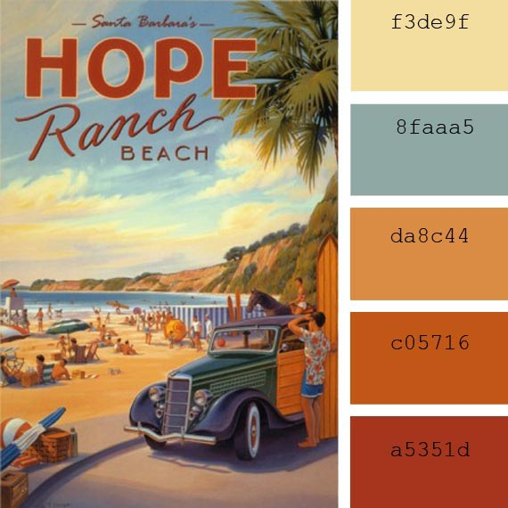 #PantoneColor of the day, #BlueSurf #VintagePosters color palette