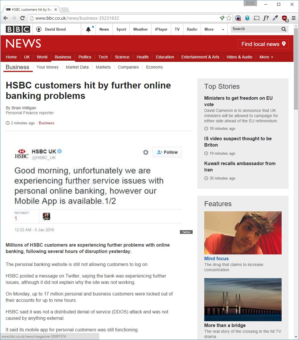 davidbond net: HSBC Online Banking Down