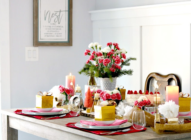 silver, chargers, gold, white, red, carnations, Holiday, Tablescape, athomewithjemma