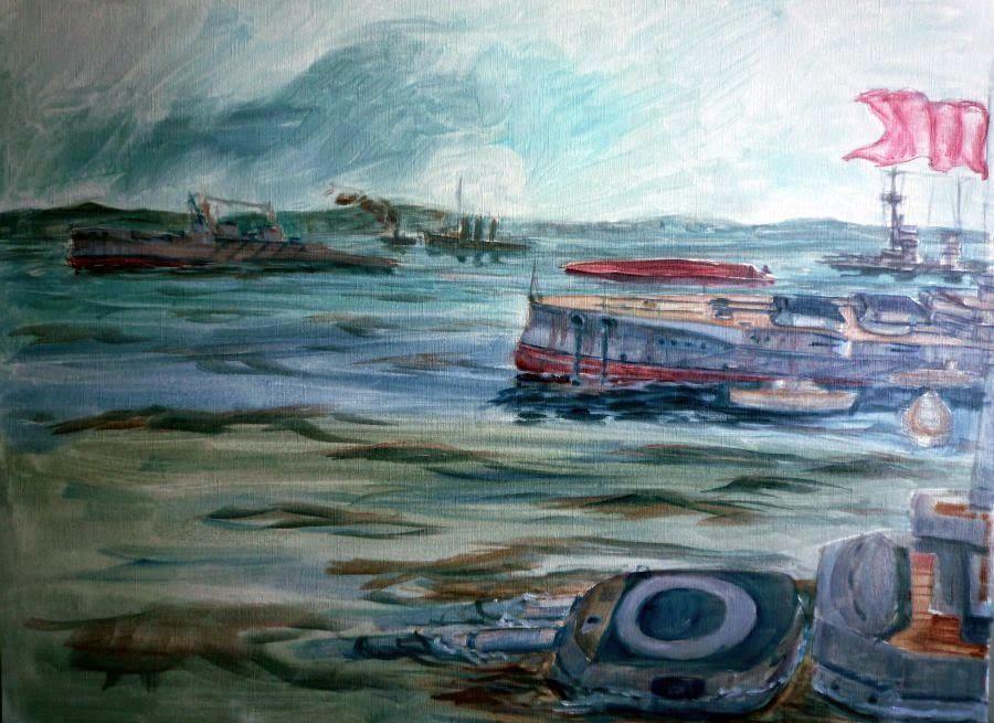 Boceto al óleo del hundimiento de acorazados en Scapa Flow