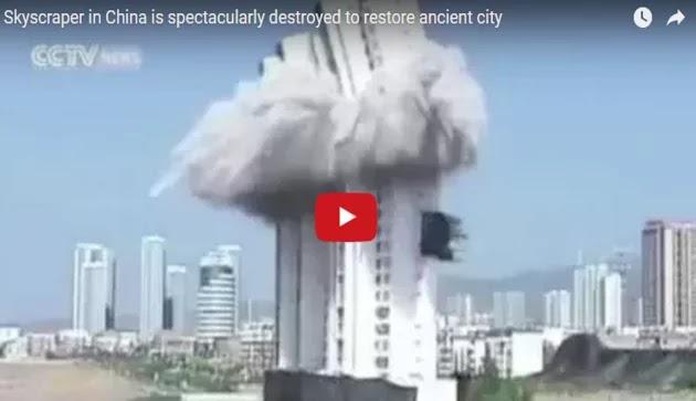 Ελεγχόμενη κατεδάφιση ουρανοξύστη στην Κίνα [Βίντεο]