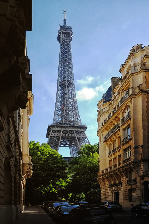 Tour Eiffel; Paris; France from Rue de Buenos Ayres. Paris photos by Kent Johnson for Street Fashion Sydney.