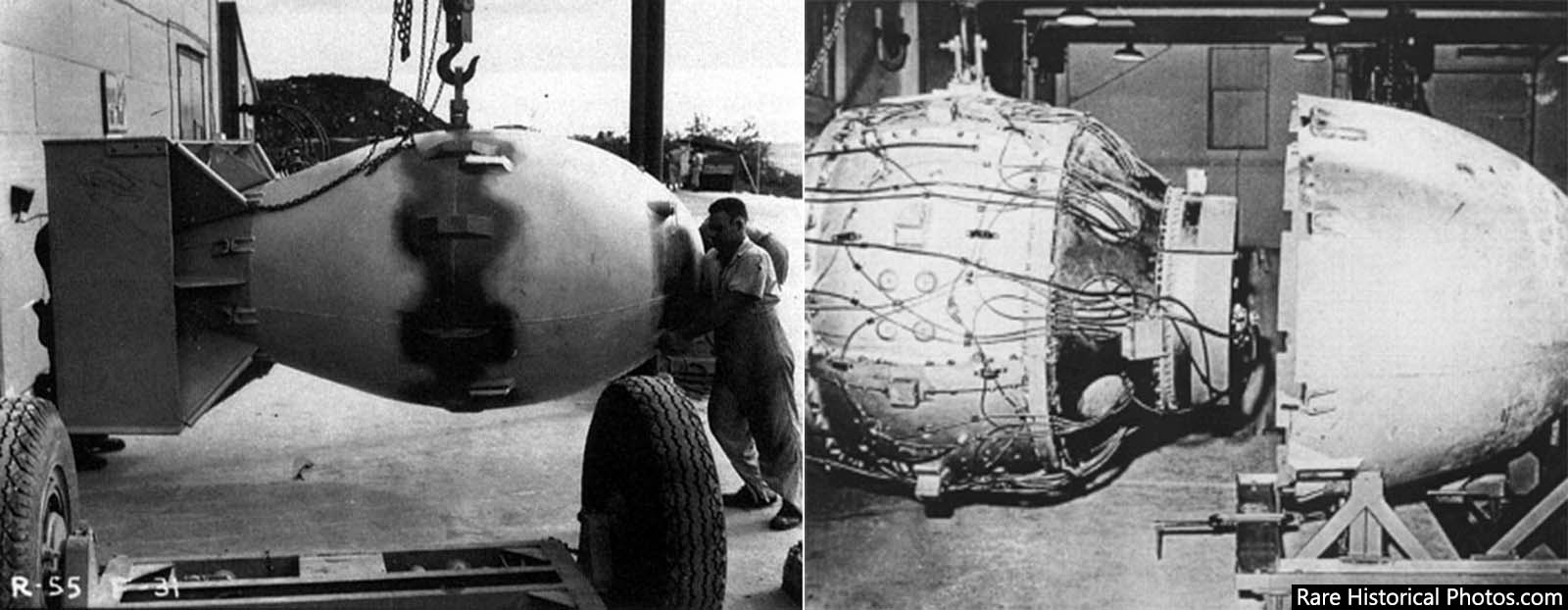 The Fat Man atomic bomb being readied on Tinian (right); Fat Man's nuclear device about to be encased (left).