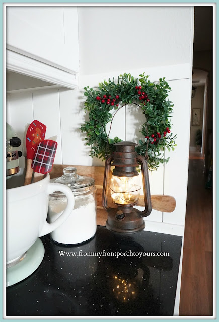 Cottage -Farmhouse- Christmas -Kitchen- Tour-Wreath-Lantern-Fairy Lights-From My Front Porch To Yours