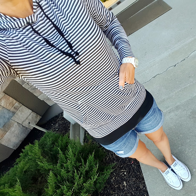 Old Navy Beach Hoodie (similar) // Mossimo Long and Lean Tank Top // Gap Factory Rolled Cuff Shorts (similar - on sale!) // Converse Slip On Shoreline Ox Sneakers // Fossil Stella White Bracelet Watch