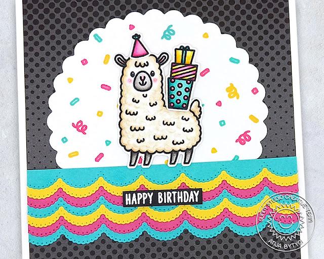Sunny Studio Stamps: Lovable Llama Inside Greetings Slimline Dies Llama Themed Birthday Card by Anja Bytyqi