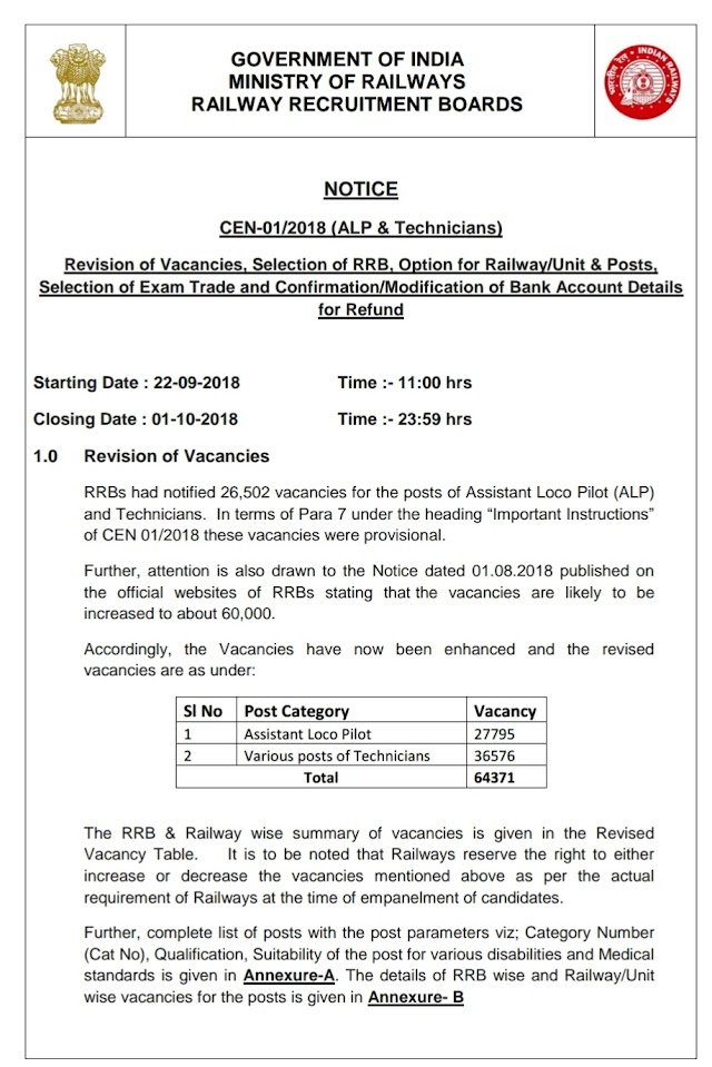 Notice on Revsied Vacancy Selection of RRB - Railway Posts