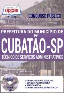 apostila Prefeitura de Cubatão 2016 PDF, Impressa/Digital e Download. Vídeo Aula, GRÁTIS CD ROM