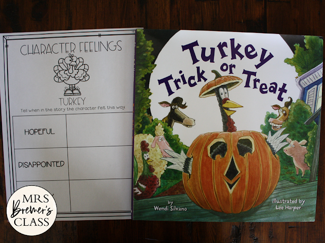 Turkey Trick or Treat book study activities unit with Common Core aligned literacy companion activities and a craftivity for Kindergarten and First Grade